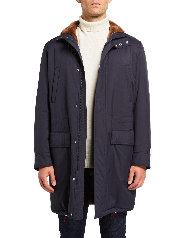 Brunello Cucinelli Coats MEN'S SHEARLING-LINED COAT W/ REMOVABLE HOOD