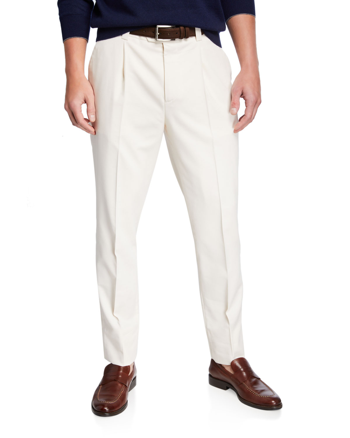 Brunello Cucinelli Cottons MEN'S PLEATED WOOL-COTTON TWILL LEISURE FIT TROUSERS