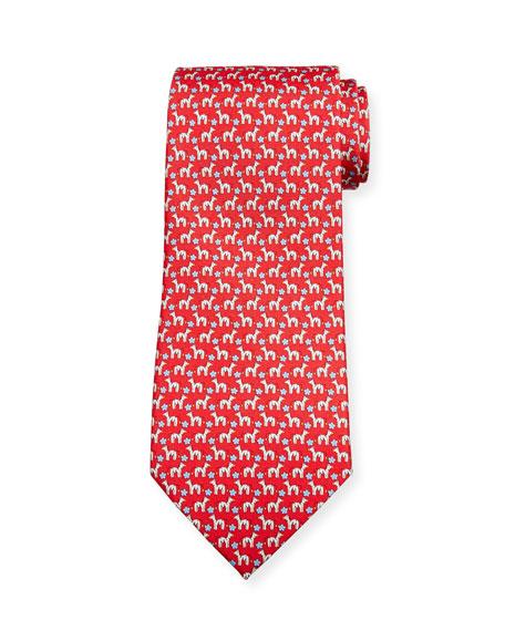 Salvatore Ferragamo Zebra/Flower Silk Tie, Red