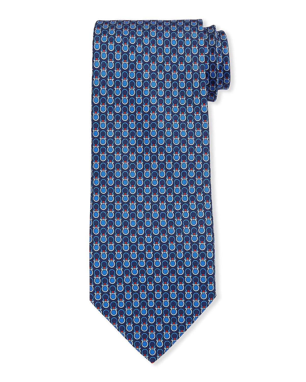 Salvatore Ferragamo Contrast Gancini Silk Classic Tie In Blue