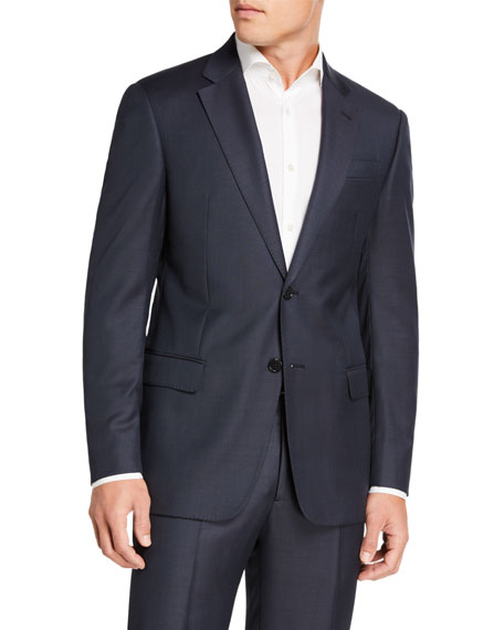 Emporio Armani Men's Sharkskin Two-Piece Wool Suit, Blue