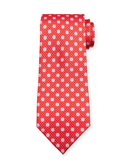 Salvatore Ferragamo Lollo Anchor-Print Tie, Red