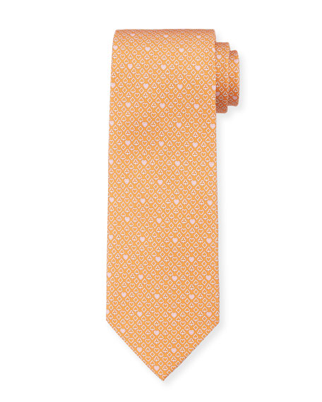 Salvatore Ferragamo Locker Playing Cards Silk Tie, Orange