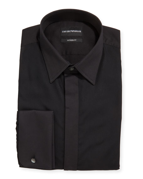 Emporio Armani Men's Solid French-Cuff Tuxedo Shirt