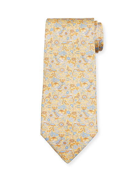 Salvatore Ferragamo Men's Flower & Bird Silk Tie, Yellow