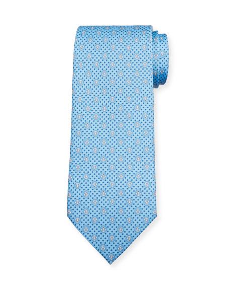 Salvatore Ferragamo Lollo Anchor-Print Tie, Blue