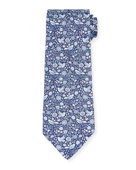 Salvatore Ferragamo Men's Flower & Bird Silk Tie, Blue