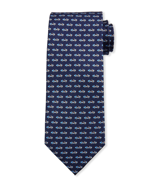 Salvatore Ferragamo Lotus Cars Silk Tie, Navy In Blue