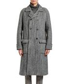 Dolce & Gabbana Men's Herringbone Oversized Wool Coat