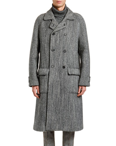 6a248e9c5a2 Quick Look. Dolce & Gabbana · Men's Herringbone Oversized Wool Coat.  Available in Gray