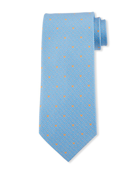 Salvatore Ferragamo Locker Playing Cards Silk Tie, Blue