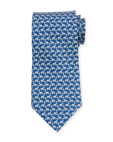 Salvatore Ferragamo Zebra/Flower Silk Tie, Blue