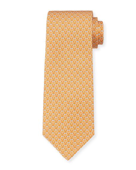Salvatore Ferragamo Leonard Gancini Silk Tie, Orange