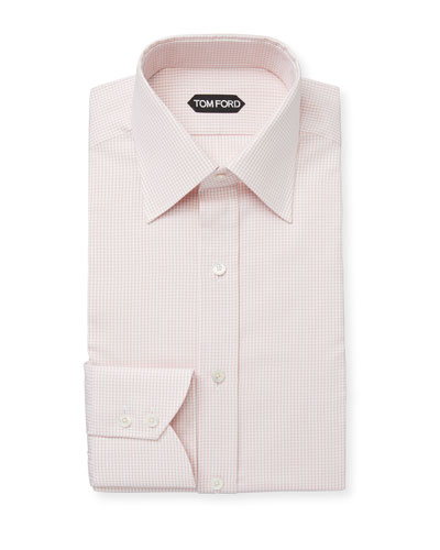 Men's Mini-Check Classic-Collar Cotton Dress Shirt