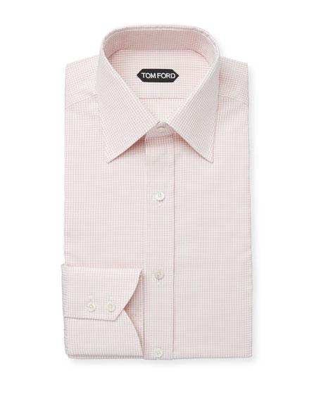 TOM FORD Men's Mini-Check Classic-Collar Cotton Dress Shirt