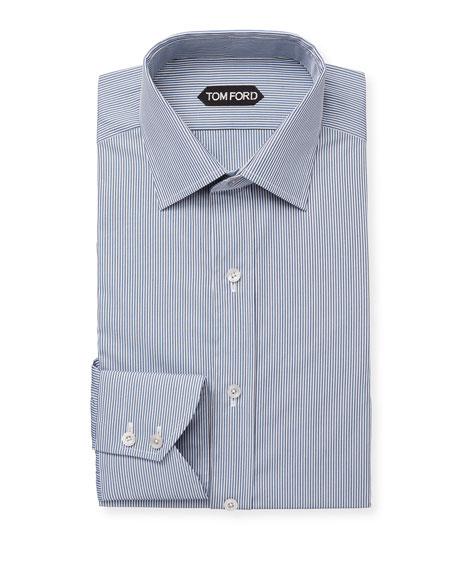 TOM FORD Men's Classic Small-Collar Striped Dress Shirt