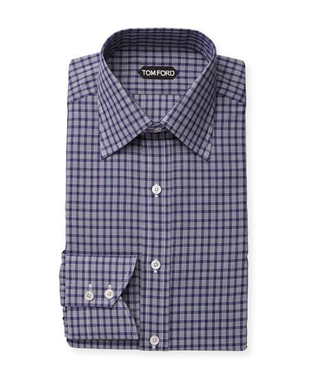 TOM FORD Men's Classic-Collar Check Dress Shirt