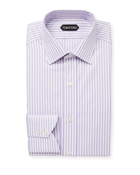 TOM FORD Men's Classic Small-Collar Striped Herringbone Dress Shirt