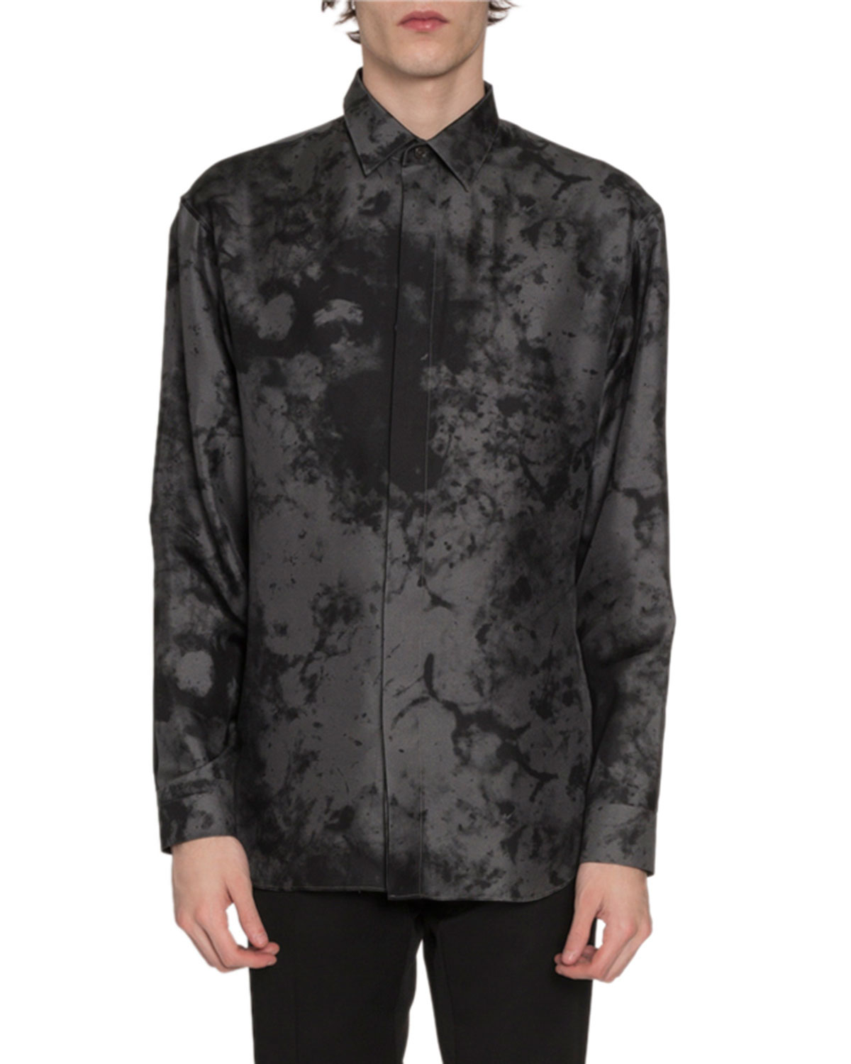Berluti T-shirts MEN'S MARBLE-PRINT SILK SPORT SHIRT, GRAY