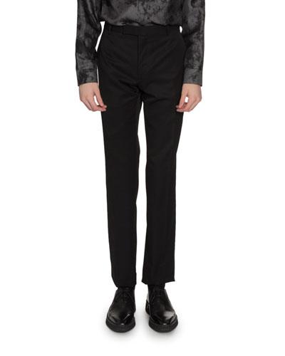 Men's Pinstripe Straight-Leg Wool Trousers