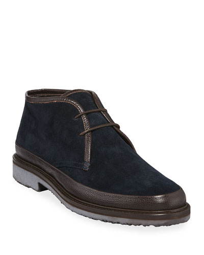 Men's Trivero Suede Chukka Boots with Mud Guard, Blue