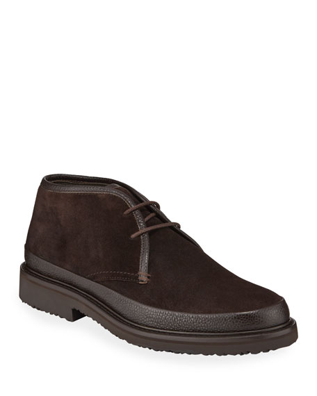Ermenegildo Zegna Men's Trivero Suede Chukka Boots with Mud Guard, Brown