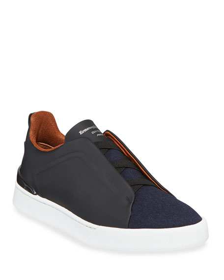 Ermenegildo Zegna Men's Triple-Stitch Leather & Wool Sneakers