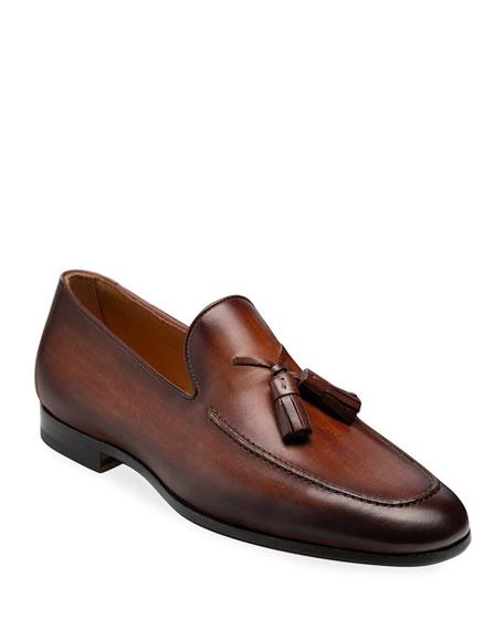 Magnanni for Neiman Marcus Men's Super Flex Leather Tassel Loafers