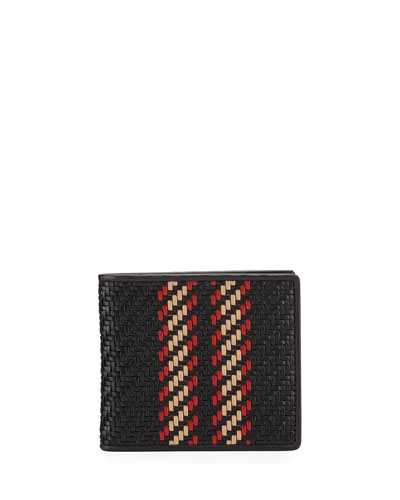 Men's Pelle Tessuta Woven Leather Bi-Fold Wallet
