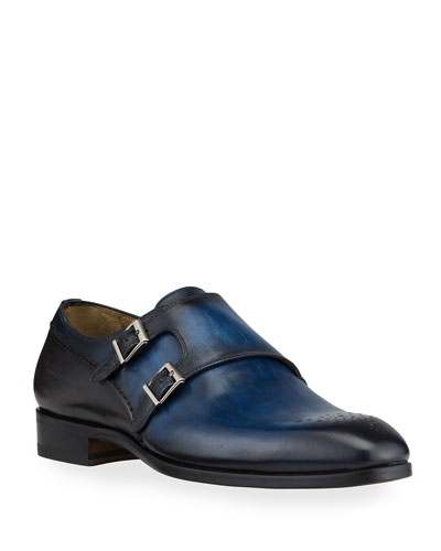 Men's Double-Monk Leather Loafers