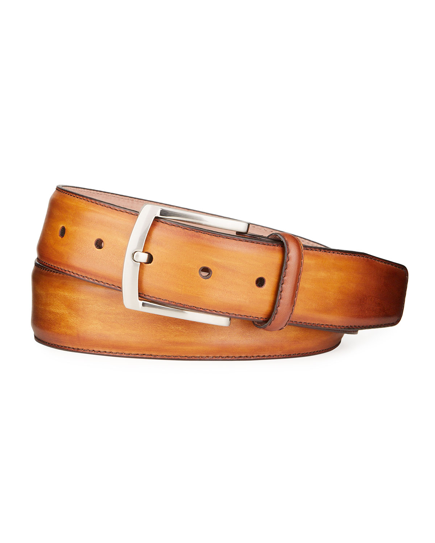 Men's Square-Buckle Calf Leather Belt