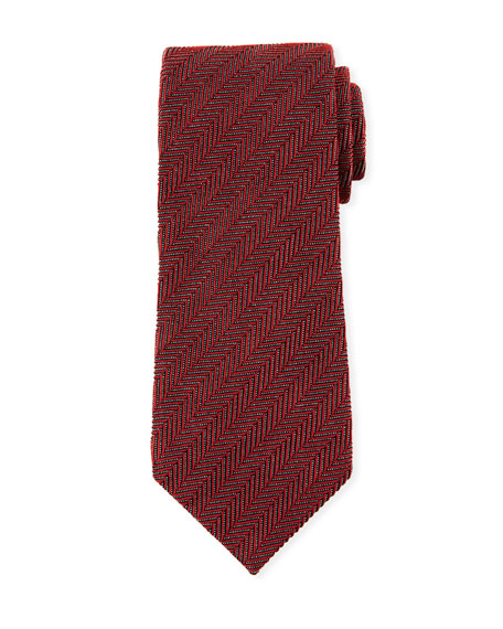 TOM FORD Tonal Stripes 9.5cm Silk/Cotton Tie, Red