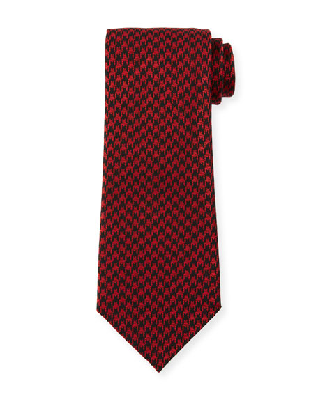 TOM FORD 8cm Large Houndstooth Tie, Red