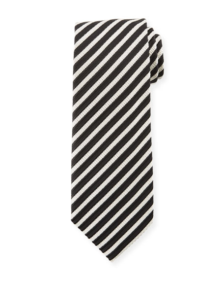 TOM FORD Striped Silk 8cm Tie, Black