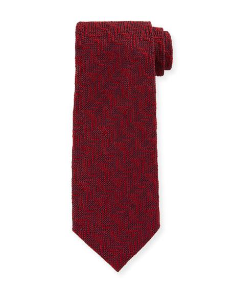 TOM FORD Textured Chevron Silk Tie, Red
