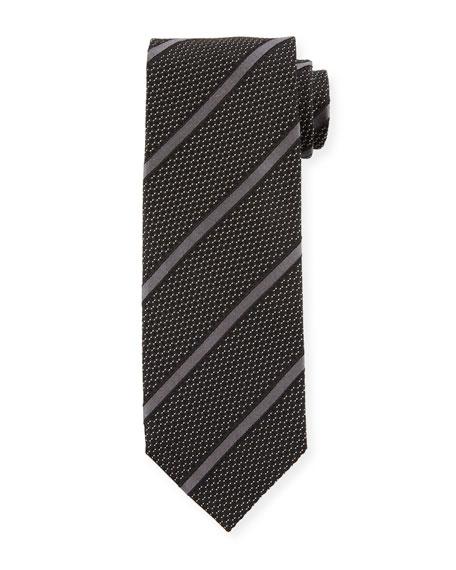 TOM FORD Striped 8cm Silk-Cotton Tie, Black