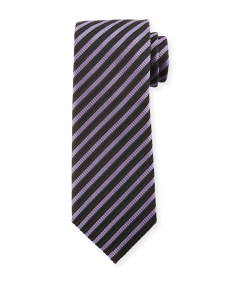 TOM FORD Striped Silk 8cm Tie, Purple