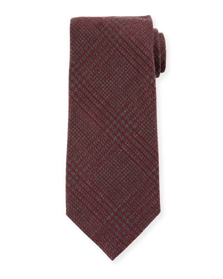 TOM FORD Houndstooth Silk/Wool Tie, Red