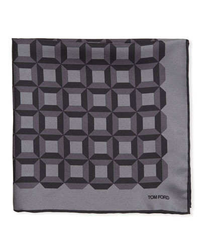 Men's Square-Pattern Silk Pocket Square