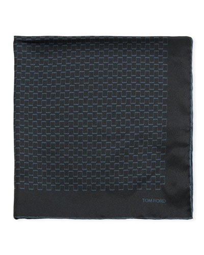 Men's Geometric Silk Pocket Square, Blue