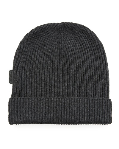 Men's 8GG Cashmere Rib-Knit Beanie Hat, Gray