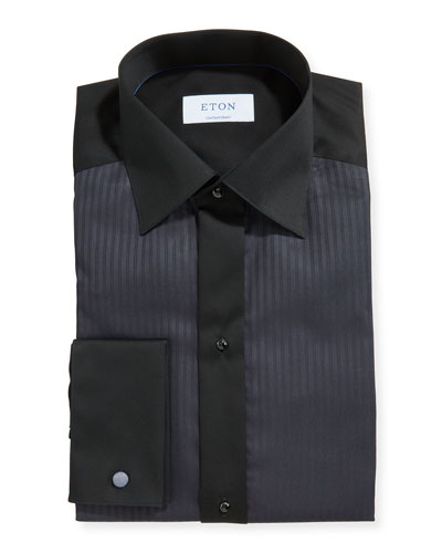 Men's Formal Satin Stripe Contemporary Dress Shirt
