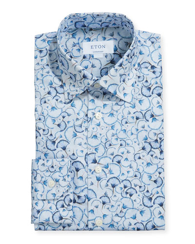 Men's Contemporary Floral-Print Dress Shirt