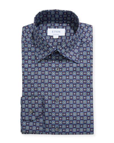 Men's Contemporary Floral Medallion-Print Dress Shirt