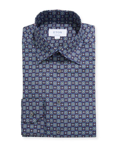 Eton Men's Contemporary Floral Medallion-Print Dress Shirt