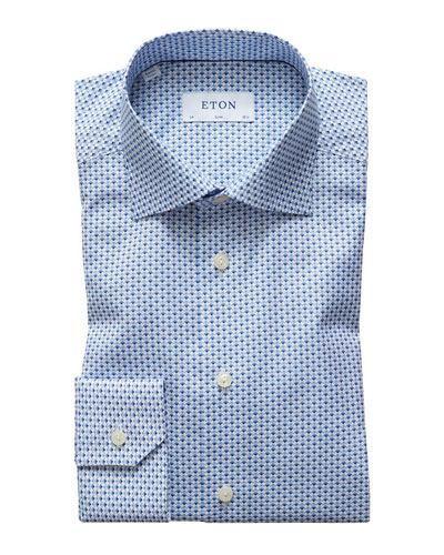 Men's Slim-Fit Micro Flower Dress Shirt