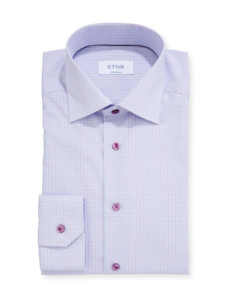 Eton Men's Contemporary Micro-Plaid Dress Shirt