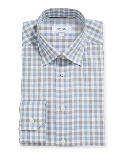 Men's Multicolor Plaid Contemporary Dress Shirt