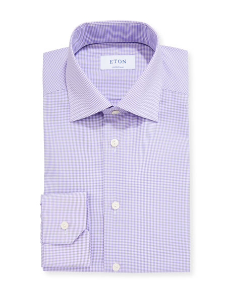 Eton Men's Contemporary Micro-Check Dress Shirt
