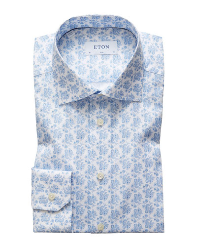 Men's Slim Fit Cotton Floral-Print Dress Shirt